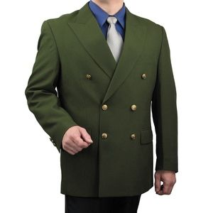 Mens Classic Fit Double-Breasted Blazer-Olive